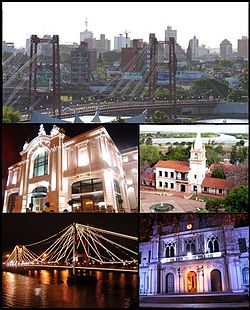 (From top to bottom; from left to right) Panoramic view of the city; Municipal Theatre; Plaza of the Two Cultures; Puente Colgante at night and the National University of the Littoral.