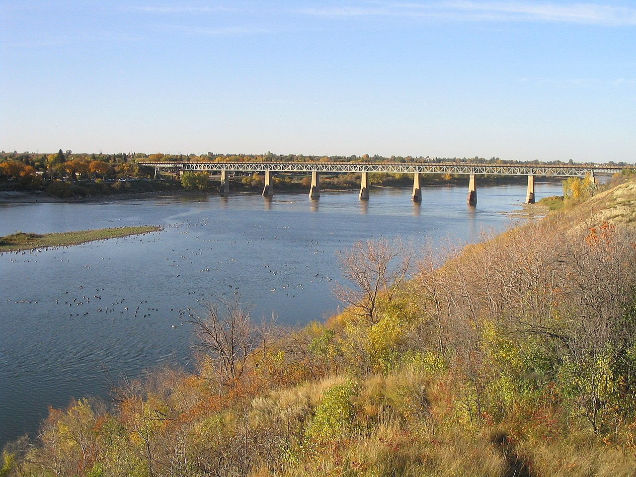 File Saskatchewan River Bridge Jpg Wikimedia Commons