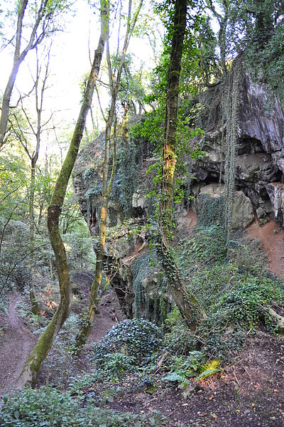 Landscape around the Schmerling Caves, place of the first discovered neandertalian remains by Philippe-Charles Schmerling in 1830 - Awirs, Flémalle / Engis, Liège, Belgium