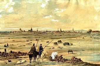 Völkerschlacht bei Leipzig, Blick über das Schlachtfeld auf Leipzig