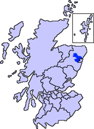 Garioch - Map of Scotland showing the present-day committee area of Garioch