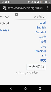 Screenshot showing languages (Wikipedia editions) linked with an article.