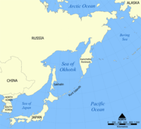 Location of the Kuril Islands in the Western Pacific between Japan and the Kamchatka Peninsula of Russia