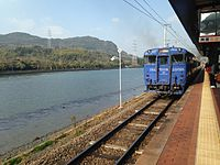 Seaside Liner leaving Huis Ten Bosch Station for Haiki Station.JPG
