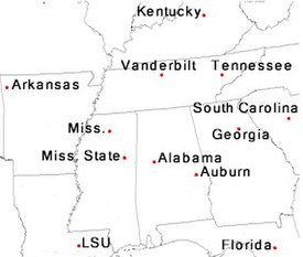 Locations of SEC members within the southeast