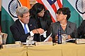 Secretary Kerry Chats With Assistant Secretary Biswal and Commerce Secretary Pritzker at the U.S.-India Joint Strategic and Commercial Dialogue Opening Plenary (21617761592).jpg