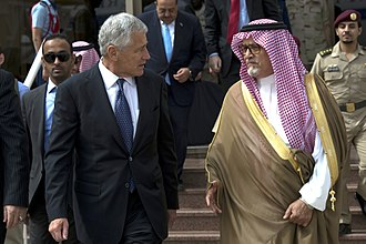 As many as 500 princes, government ministers, and business people, including Prince Fahd bin Abdullah, were arrested by Saudi Arabian authorities as part of the 2017 Saudi Arabian purge Secretary of Defense Chuck Hagel walks with Saudi Deputy Minister of Defense Prince Fahd bin Abdullah before departing Riyadh, Saudi Arabia, on April 24, 2013 130424-D-BW835-179.jpg