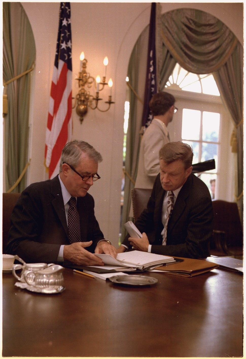 Secretary of State Cyrus Vance and National Security Council Advisor Zbigniew Brzezinski. - NARA - 175514