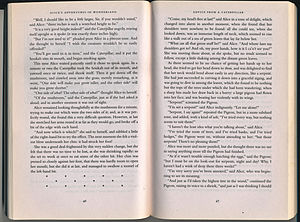Section (typography) - Open pages of the book Alice's Adventures in Wonderland, showing an ornate section break on the lower left page created from asterisks. It is used to signal a pause for the reader and a transition in the narrative.
