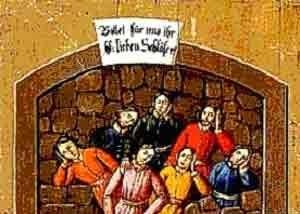 Seven Sleepers - A 19th-century German votive painting of the Seven Sleepers. The writing says Bittet für uns Ihr hl. sieben Schläfer (Pray for us, Holy Seven Sleepers).