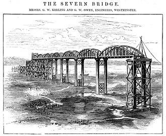 Severn Railway Bridge - Bridge under construction, 1877