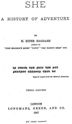 She: A History of Adventure - Title page of third book edition of She