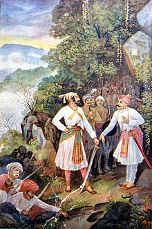 Shivaji Maharaj and Baji Prabhu at Pawan Khind.jpg