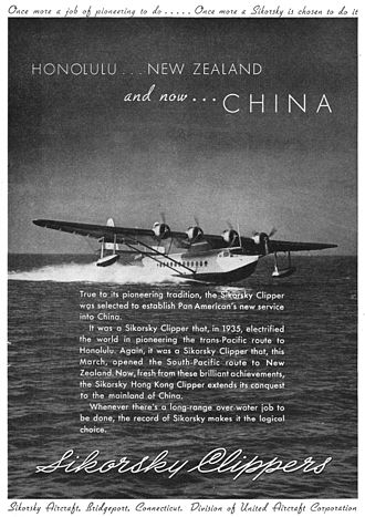 Sikorsky Aircraft - Advertisement for Sikorsky S-42 Clipper flying boat from 1937