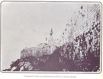 Albania during the Balkan Wars - Montenegrin flag on Shkoder fortress.
