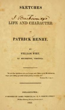 Sketches of the life and character of Patrick Henry.djvu