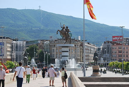 Mount Vodno as seen from the Stone Bridge. Skopje X90.JPG