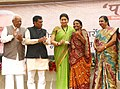 Smriti Irani distributed the PAHCHAN identity cards to artisans of Gujarat, at the inauguration of the Thematic Exhibition on Handicrafts products, at Ahmedabad Haat, in Vastrapur, Ahmedabad.jpg