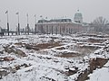 Snow covered Medieval royal castle ruins on Castle Hill, Várkerület, 2016 Budapest.jpg