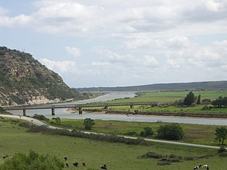 Gamtoos River - Gamtoos River near its mouth into the Indian Ocean between Port Elizabeth and Jeffreys Bay, with the R102 bridge in the foreground and the N2 bridge in the background.