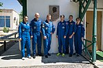 Soyuz MS-09 crew and backup crew in front of Korolev's cottage.jpg