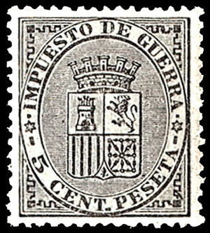 English: War tax postage stamp of Spain, 5 cen...