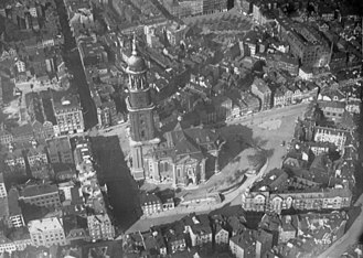 St. Michael's Church, Hamburg - Aerial photo from about 1920