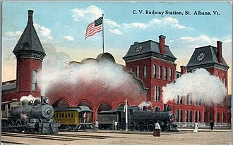 St. Albans station (Vermont) - The trainshed and office building in the early 20th century