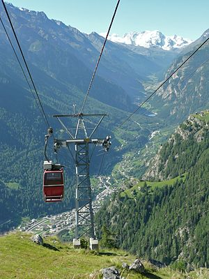 St. Niklaus, Switzerland - Cable car from Jungen to St. Niklaus