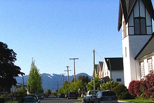 East Vancouver - Street and houses in East Vancouver (with North Shore Mountains in background)