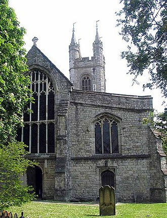 Ashford, Kent - St Mary's Church, Ashford, dates from the 13th century, but was extensively modified in the 15th by John Fogge