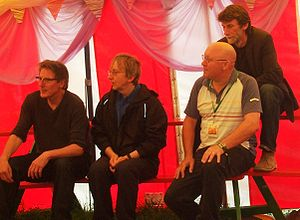 Stackridge - Stackridge being interviewed at the 2008 Glastonbury Festival. From the left: Andy Davis, James Warren, Mutter Slater and Crun Walter.