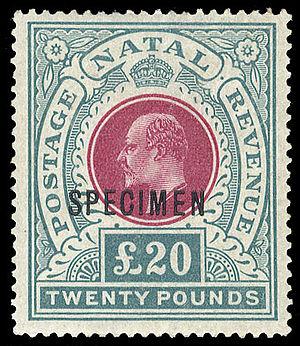 Specimen stamp - 1902 Colony of Natal stamp, overprinted SPECIMEN in black showing Edward VII