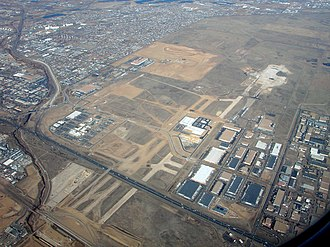 Interstate 270 (Colorado) - Former site of Stapleton International Airport, located east of I-270. I-270's interchange with I-70 can be seen in the far left