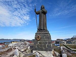 Statue of Hans Egede - Image: Statue of Hans Egede, Nuuk