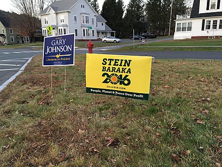 Campaign signs of third-party candidates Jill Stein and Gary Johnson, October 2016 in St. Johnsbury, Vermont Stein, Johnson signs 2016.jpg