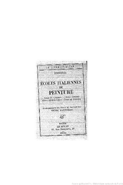 File:Stendhal - Écoles italiennes de peinture, I, 1932, éd. Martineau.djvu