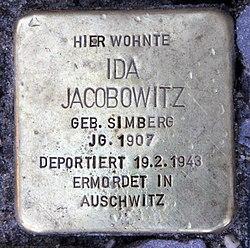 Photo of Ida Jacobowitz brass plaque