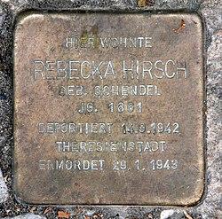 Photo of Rebecka Hirsch brass plaque