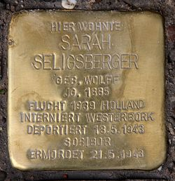 Photo of Sarah Seligsberger brass plaque