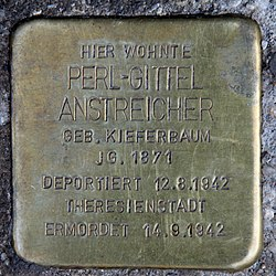 Photo of Perl-Gittel Anstreicher brass plaque