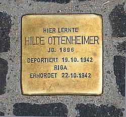 Photo of Hilde Ottenheimer brass plaque