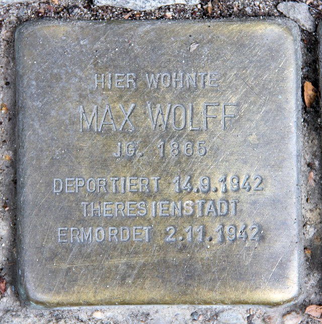 Photo of Max Wolff brass plaque