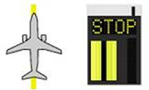 Stand guidance system - Aircraft location: Nose landing gear positioned on centreline at stop position