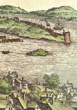 Strömsborg - A view of Strömsborg from north with Riddarholmen in the background. Detail from an engraving by Frantz Hogenberg c.1570.