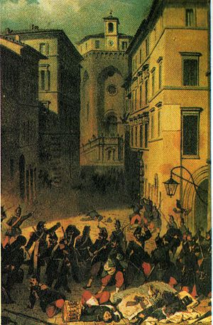 Napoleone Verga - Section of Massacre at Perugia (Gli svizzeri al crocevia ).