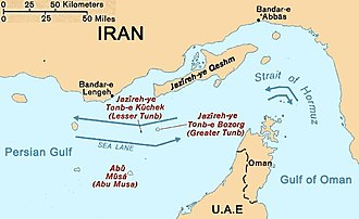 Abu Musa and the Greater and Lesser Tunbs conflict - Map of the Strait of Hormuz