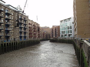 River Neckinger - St Saviour's Dock where the Neckinger meets the Thames. Here the Neckinger divides the Thames riverside districts of Shad Thames and Jacob's Island.