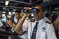 Students from the Fiji Maritime Academy on the bridge of the USS Shoup.jpg