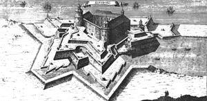 Kupferstich der Festung Älvsborg aus dem Werk Suecia antiqua et hodierna von Erik Dahlberg.